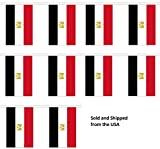 30' Egypt String Flag Party Bunting Has 30 Egyptian 6''x9'' Polyester Banner Flags Attached, Popular For School Classroom, Special Events, Bars, Restaurants, Country Theme Parties