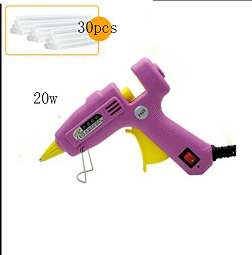 Wly&Home Hot Glue Gun, 20W Hot Glue For Industrial Glue With 30Pcs Hot Glue Sticks For Do It Yourself Arts And Crafts Projects, Packing And Small Home/Office Repairs, Pink by Wly&Home