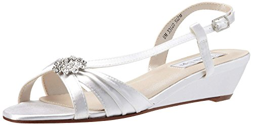 Touch Ups Women's Geri Leather Wedge Sandal,White Satin,6 M US