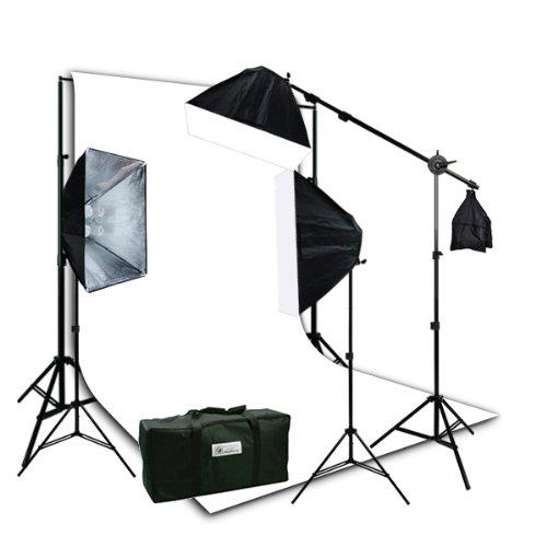 ePhotoInc 2400 Watt Camera Video Photography Studio 3 HONEYCOMB SOFTBOX Lighting KIT 3200k Warm Lightand 10 x 20 White Muslin Background Stand Set Case HGD2-1020W 3200k by ePhotoinc