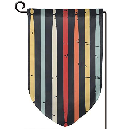 Retro Drum Sticks Double Sided Garden Flag Decorative Banner 12.5 X 18 Inch Yard Flags