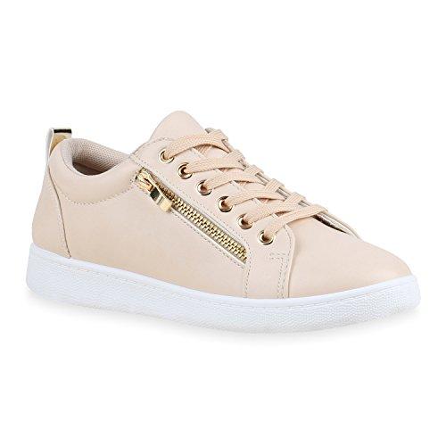 Damen Sneakers Metallic Sneaker Low Zipper Glitzer Schuhe Lack Animal Print Turnschuhe Sportschuhe Leder-Optik Plateau Flats Flandell Creme Avelar
