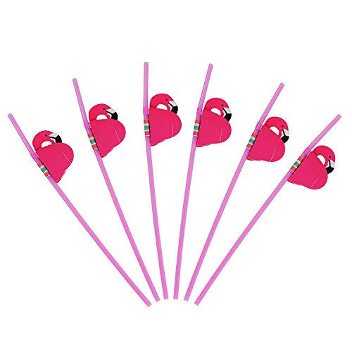 (ALINK 50 Pink Flamingo Straws, Plastic Drinking Straws for Lula Party Supplies/Hawaiian / Birthday/Pool Party)