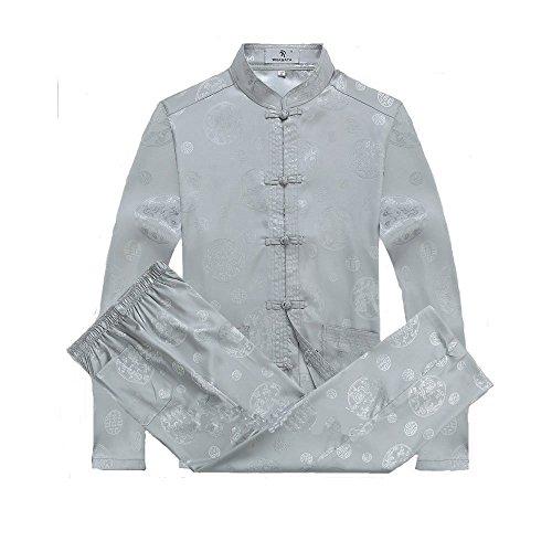 ZooBoo Mens Martial Arts Kung Fu Uniform Long Sleeve Tang Suit With Dragon Pattern (Gray, L/175) (Top Silk China Mens)
