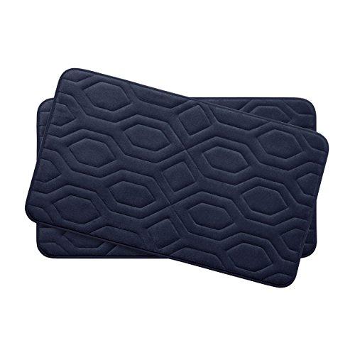 Bounce Comfort Extra Thick Memory Foam Bath Mat Set - Turtle Shell Premium Plush 2 Piece Set with BounceComfort Technology, 17 x 24 in. Indigo -  YMB003754