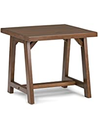 Simpli Home Sawhorse End Side Table, Medium Saddle Brown