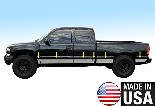 Made In USA! Works With 99-06 Chevy Silverado 4 Door Extended Cab Short Bed Without Fender Flare Rocker Panel Trim 8 7/8