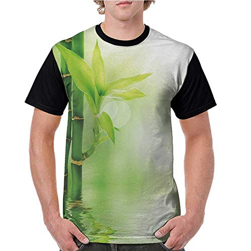 Raglan Sleeve Baseball Tshirt,Plant,Chinese Ecology Picture of Bamboo Sticking Out of The Water Serene Atmosphere,Emerald Green S-XXL Mens Short Sleeve Blouses