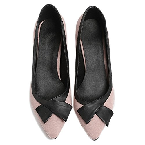 SJJH Fashion Court Shoes with Poited Toe and Thin Heel Business Style Shoes with Large Pink fe5ryaKu