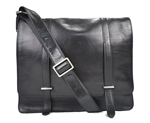 Mens leather messenger bag black shoulderbag genuine leather briefcase satchel messenger business document bag ladies executive bag by ItalianHandbags