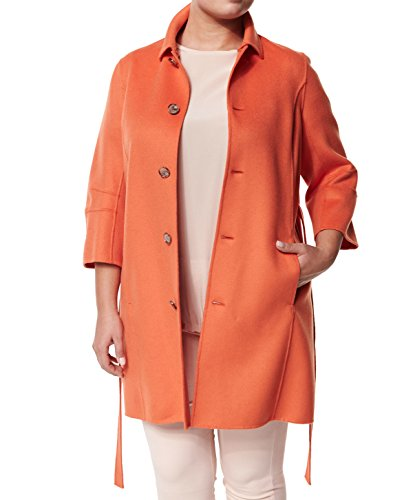 Marina Rinaldi Women's Narciso Belted Angora Coat 16W / 25 Orange