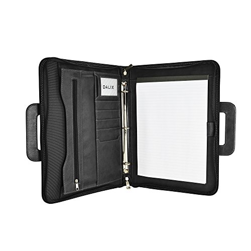 DALIX Professional Excel Business Slim Portfolio Briefcase Organizer, Black (Padfolio File)