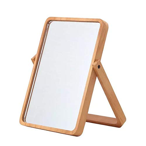 LeafMirror Tabletop Vanity Makeup Standing Mirror Cosmetic Mirror Wooden Table Mirror Hanging Rectangle Mirror