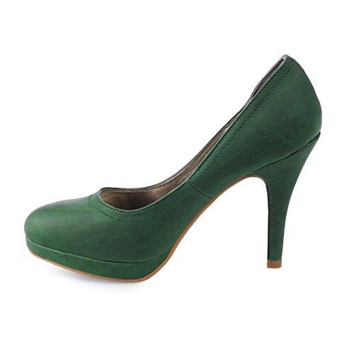 La Modeuse-Zapatos de tacón estilo clásico, piel sintética Verde