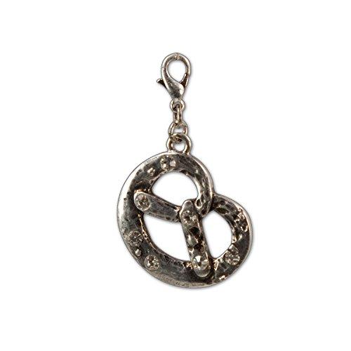 Bavarian Charm Rhinestone Pretzel (silver coloured) - Traditional German Pendant Necklace, Bracelet