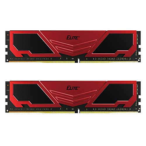 TEAMGROUP Elite Plus DDR4 64GB Kit (2 x 32GB) 3200MHz PC4-25600 CL22 Unbuffered Non-ECC 1.2V U-DIMM 288 Pin PC Computer Desktop Memory Module Ram Upgrade - Red & Black - TPRD464G3200HC22DC01