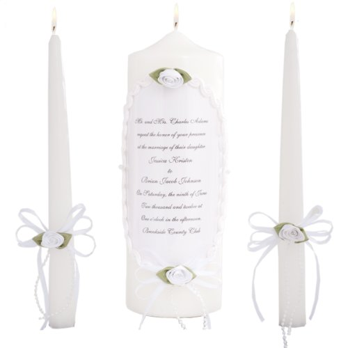 Celebration Candles Wedding Unity 9-Inch Pillar Candle Displaying Wedding Invitation and Matching 10-Inch Taper Candle Set, White