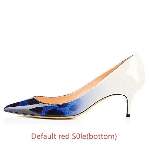 Semelle Caitlin Cuir Pan Escarpins Fête Robe Femmes Travail Rouge et Chaton Léopard Talon Bleu Pointu 65MM Chaussures Verni Bout de rrqUwgxBF