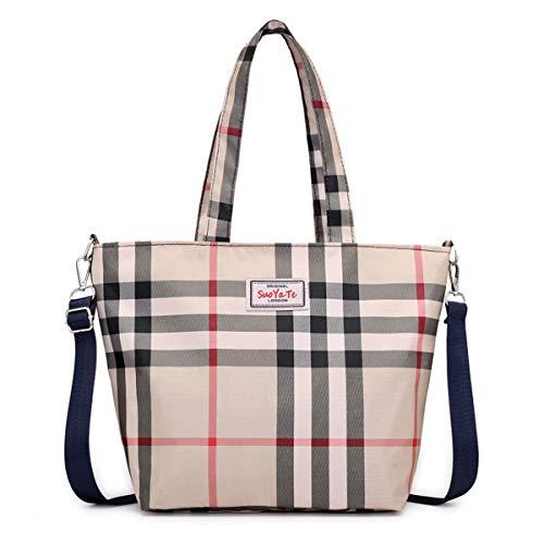 Women Fashion Tote Bags Sholder Bag Big Capacity Handbag Top Handle Satchel Waterproof Nylon Oxford Lady Bag Travel Luggage Outside Pocket Plaid Khaki