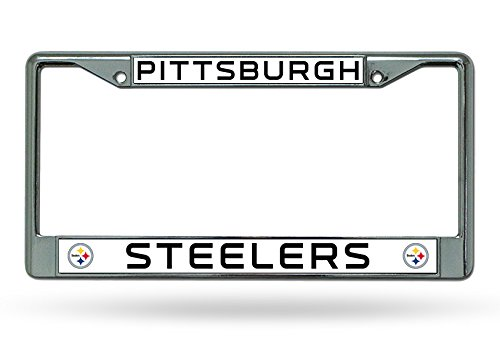 Rico Industries NFL Pittsburgh Steelers Chrome Plate Frame,12-Inch by 6-Inch,Silver