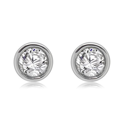 - omega jewellery 14K White Gold Round Diamond Bezel Set Solitaire Stud Earrings (0.50 Ct)