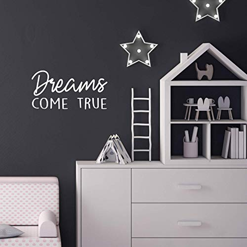 Vinyl Wall Art Decal – Dreams Come True – 11″ x 22″ – Modern Inspirational Cute Quote Sticker for Kids Room Home Office Teen Bedroom Playroom Classroom Nursery Decor (White)