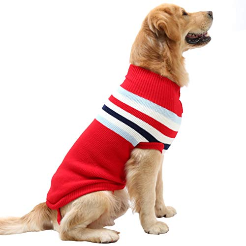 - Dora Bridal Dog Sweater,Stripes Knitwear Tutleneck Dog Apparel,Pet Sweatshirt Clothes Dog Wool Classic Warm Soft Sweaters for Cold Weather, Puppy Warm Winter Coat for Small Medium Large Dogs Red