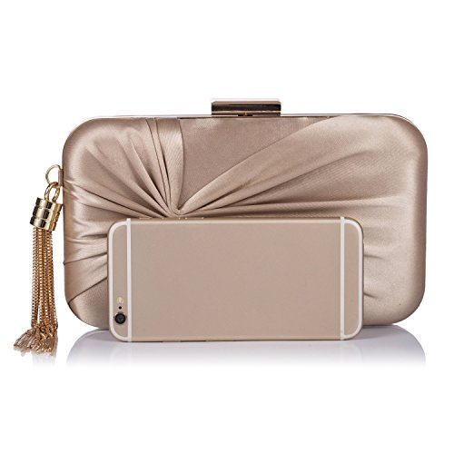 Chichitop Rose Evening Purse Golden Bridal Bags Clutch Tassel Bowknot Elegant Wedding Women's Pendant Party Fqxnr4TFw7