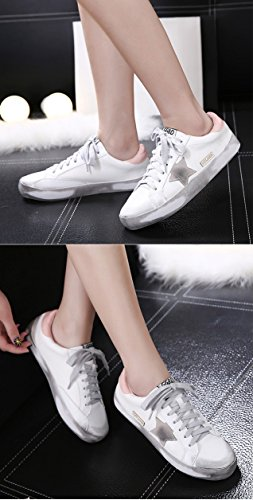 Star Pattern White Toe Round Flat QZUnique Shoes design Pink Dirty Unique Shoes Womens the with TASnqA7