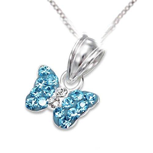 SL de Silver Set Cadena infantil pendientes colgante mariposa cristal 925plata en caja de regalo