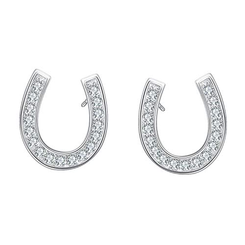 EVER FAITH 925 Sterling Silver Elegant Pave Cubic Zirconia Lucky Horseshoe Stud Earrings Clear 3/8' Horseshoe Dangle Earrings
