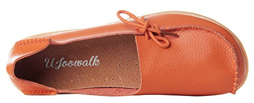Up Leather Loafers Orange Driving Casual Flat Lace Womens Cowhide Serene TxqA5XT
