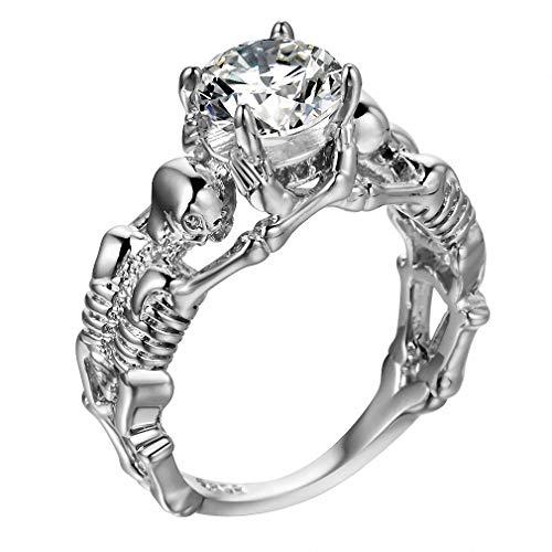 Giwotu Womens Mens Ghost Evil Skull Skeleton Hand CZ Ring European and American Punk Style Men Ring New Skull Men's Jewelry White Stone Silver 8