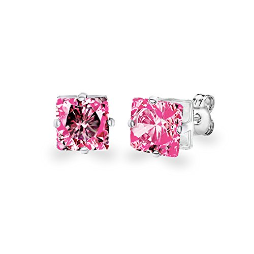 Diane Lo'ren 18KT White Gold Plated Kids 6mm Gemstone Crystal Princess Cut Cubic Zirconia Studs Cartilage Earrings For Children (Pink (Princess Tourmaline Earrings)