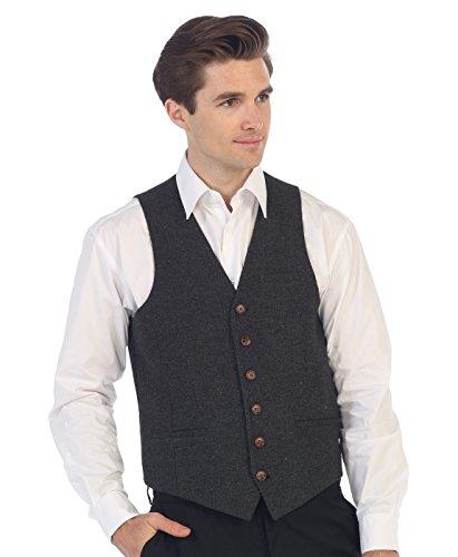 Gioberti Men's 6 Button Slim Fit Formal Herringbone Tweed Vest, Herringbone Charcoal, 2X Large