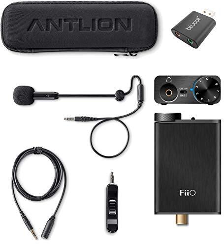 (FiiO E10K USB DAC Headphone Amplifier Bundle with Antlion Audio ModMic 5 Modular Attachable Boom Microphone and Blucoil USB Audio Adapter)