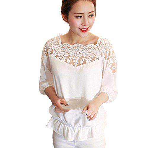 mode de Tops la shirt Blanc travers lgants chemisier Neck manches 3 vtements lache Bellelove de dentelle rtro Hemd 4 soie en femmes O voir T florale la mousseline des Xq7p5x0