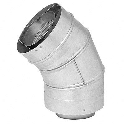 Metal Fab Vent Pipe Elbow 45 Degree 6In L 3In Dia.