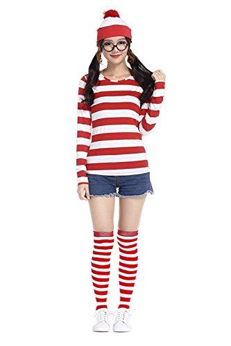Where's Wally Characters Costumes (MV Women Smart Waugh Where's Wally British Anime Characters Cosplay Costume Halloween Costume Clothing)