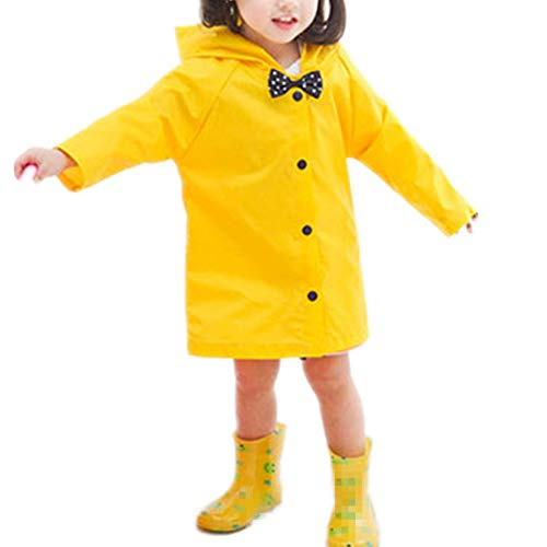 Taiduosheng Age 2-10 Kids Hooded button down Jacket Rain Raincoat With bow Cover Long Rainwear -