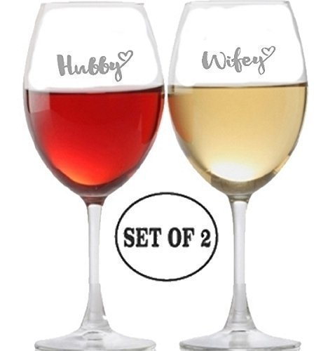 Hubby Wifey Long Stem Wine Glasses for Red, Rose and White Wine Drinkers | Etched Engraved | Perfect Fun Handmade Present for Everyone | Lead Free | Dishwasher Safe | Set of 2