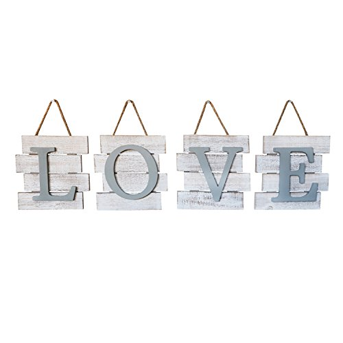 - Barnyard Designs Love Wall Tile Sign, Distressed Rustic Farmhouse Wood Wall Decor for Home and Kitchen 32