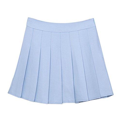 Belle Jupe Courte Pour Femme Beau Motif Plisses Jupes Court Bleu