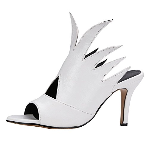 Carolbar Womens Peep Toe Vlam-vormige Prestaties Stiletto Sandalen Slippers Wit