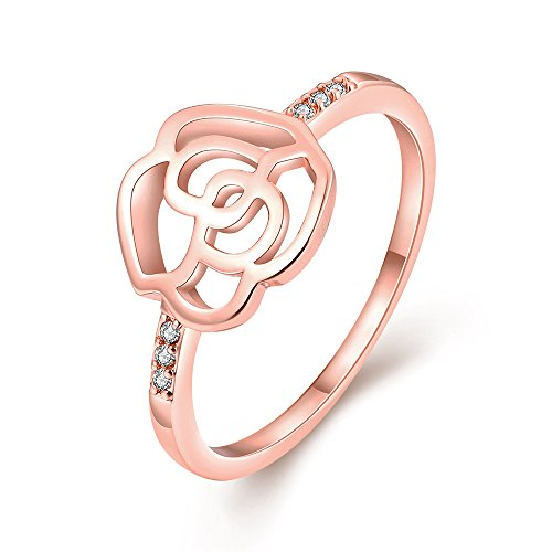 [Eternity Love Rose Wedding Bands Women's Rose Gold Plated CZ Crystal Engagement Rings Best Promise Rings Anniversary Wedding Bands for Lady Girl, Rose Gold,] (Homemade Wolf Costumes For Kids)