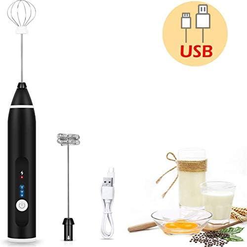 電動ミルク泡立て器、USB充電式卵ミキサー、卵ビーター付き3つの速度、2つの泡立て器ヘッド、コーヒー、ラテ、カプチーノ、ホットチョコレート用