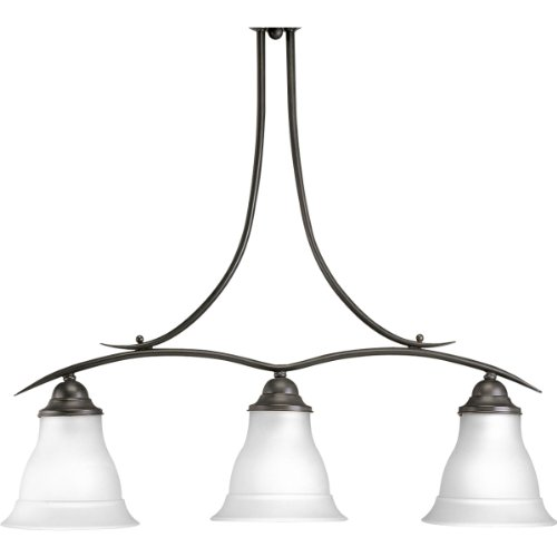 Progress Lighting P4325-20 3-Light Linear Chandelier with Etched Glass, Antique Bronze