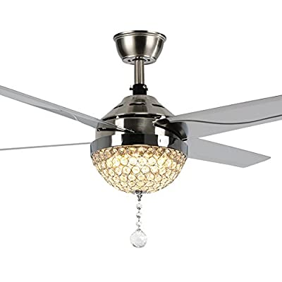Andersonlight Stainless Steel Crystal Ceiling Fan 4 Sand Nickel Color Blades with Dimmable LED Light Remote Control Variable Speed Mute Motor Indoor 44-Inch FS052