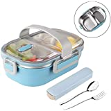 Insulated Bento Box,2 Compartments Bento Lunch box with Portable utensils,Stainless Steel thermos Bento Lunch Box Leakproof Container With Portable Utensils for Kids, Adults, Men, Women (Blue)