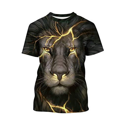 Tsyllyp Kids Short Sleeve Lion 3D Digital Printed Boys T Shirts Girls Tees Tops]()